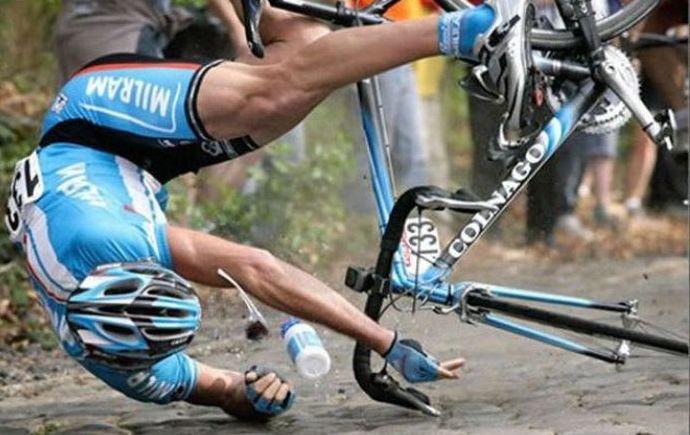 crashed cyclist