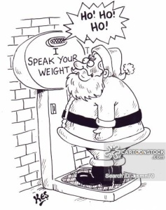 Santa on 'I speak your weight' machine. Machine says 'Ho,ho,ho.'